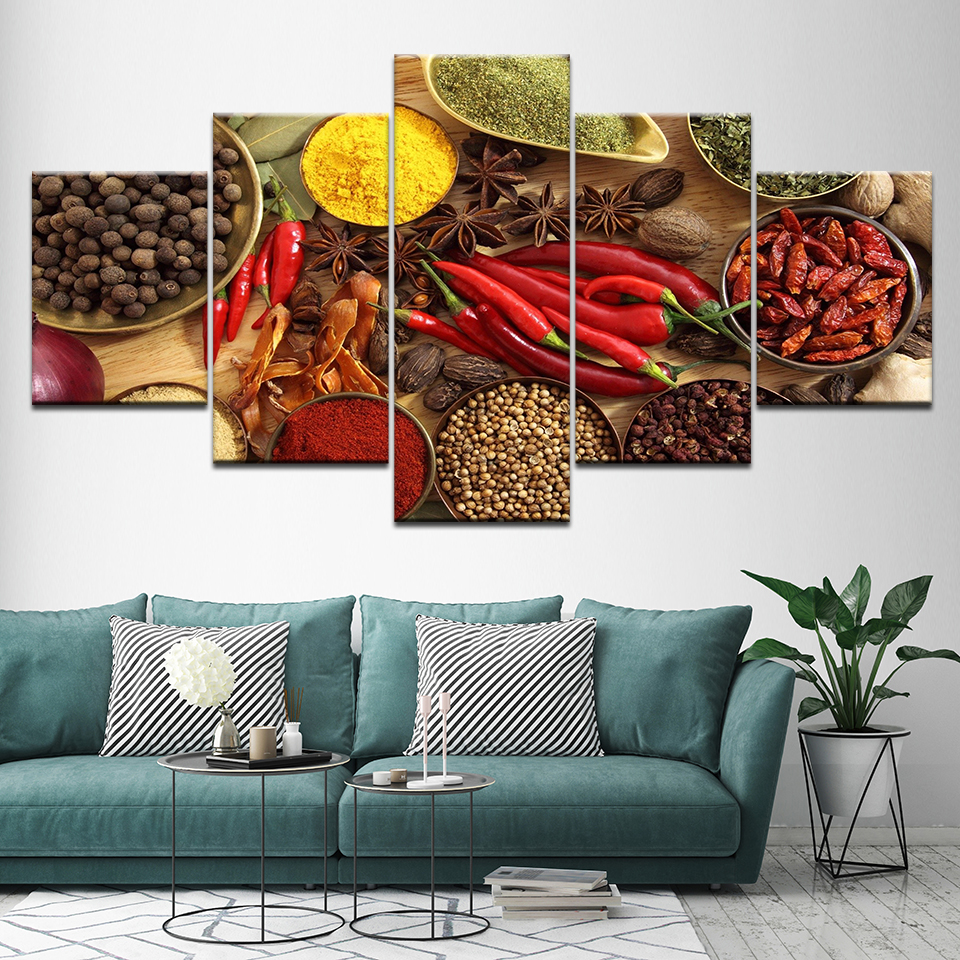 Home Decor Wall Art Framed Posters Prints 5 Panel Spoon Grains Spices Peppers Canvas Painting Kitchen Modular HD Food Picture