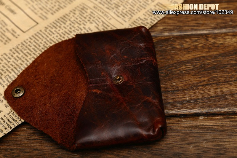 Oil Waxed Dark Brown Credit Card Wallet Card Bag Coin Wallet man and women (10)
