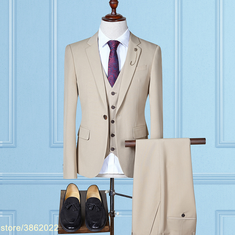 Custom made beige mens suits wedding groom casual male suits 3 pieces (jacket+pant+vest) puls size 7XL 8XL 9XL 10XL