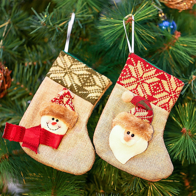 56239a89a Christmas Tree Decorations Christmas Stocking Small Santa Socks Christmas  Pendant Ornament Cute Candy Gift Bags For Kids