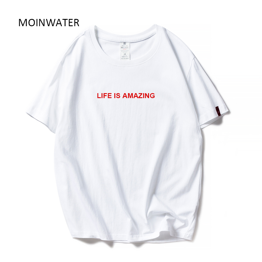 MOINWATER Women Letter Pattern T-shirts Lady 2020 New Cotton Summer T Shirt Female Short Sleeve Tees&Tops MT1925