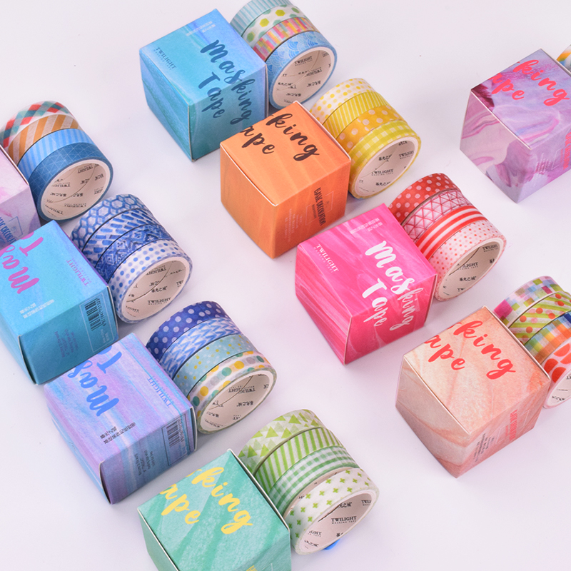 Pastel Geometric Collage Masking Washi Sticky Paper Tape Adhesive Printing DIY Scrapbooking Deco Washi Tape Set , 4 Rolls/lot