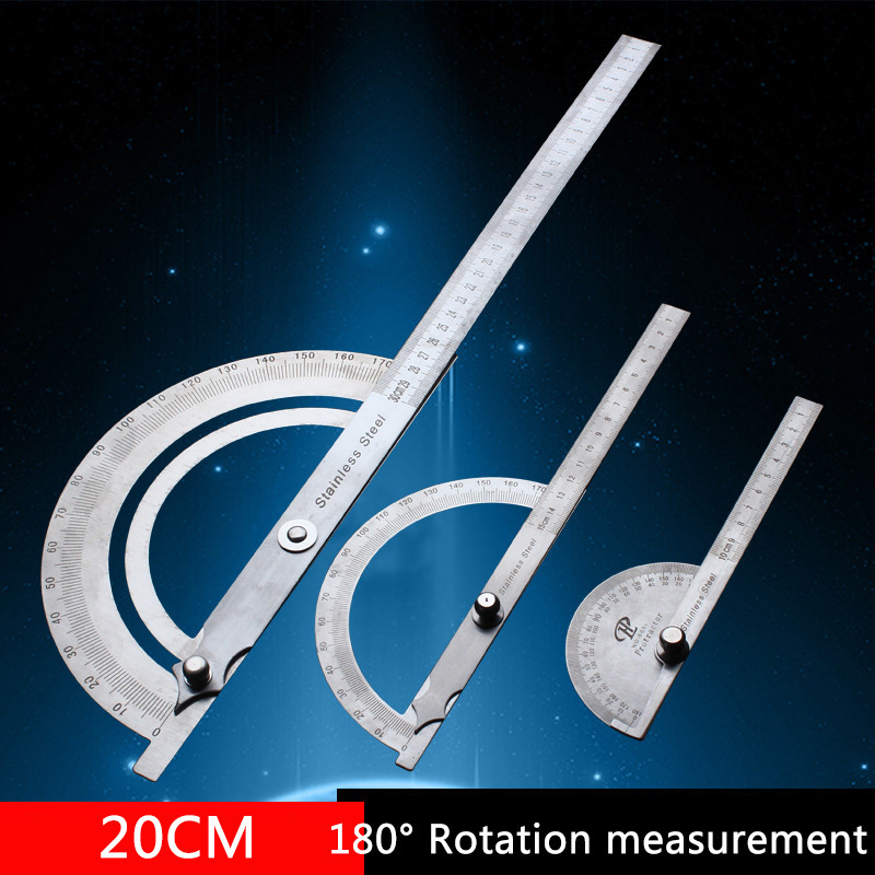 Stainless Steel Round Head 180 Degree Protractor Angle Finder Rotary Measuring Ruler Machinist Tool 20cm Craftsman Ruler