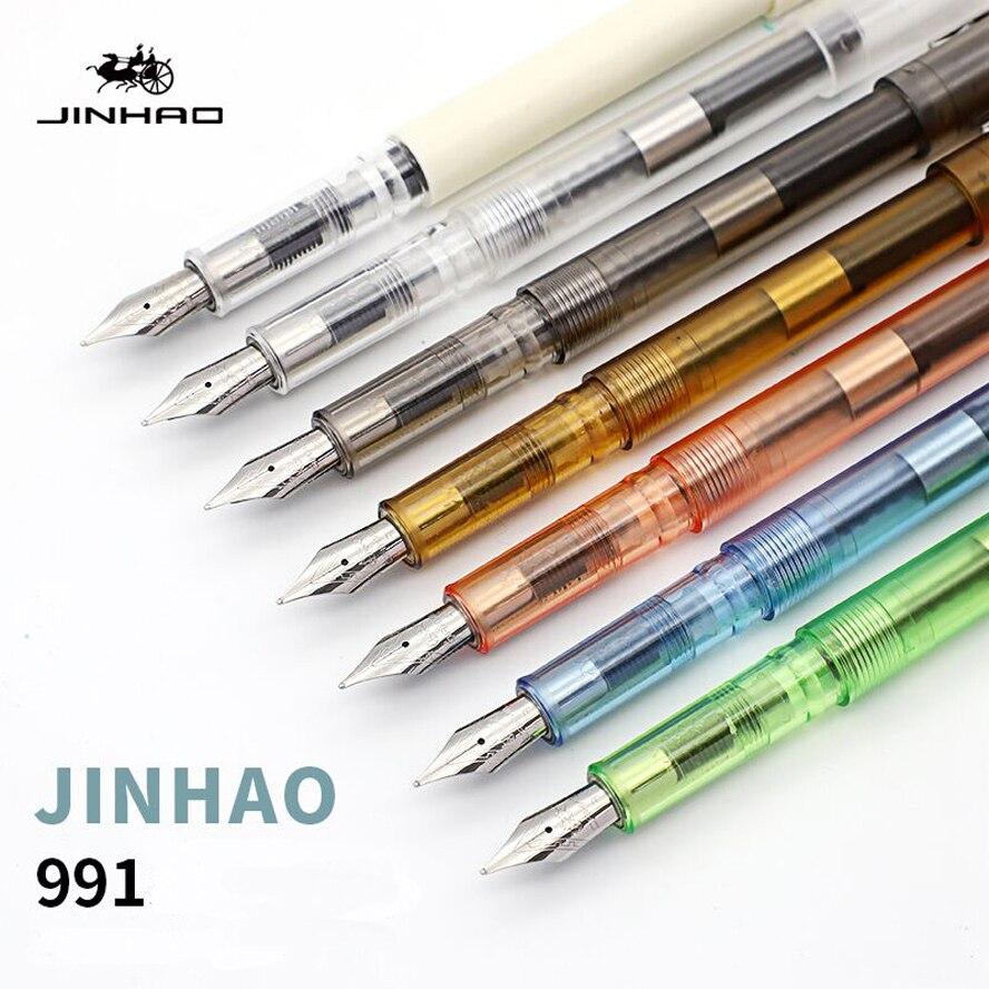 7 pcs Ensemble Fontaine Stylo De Luxe Jinhao 991 0.5mm Nib Stylo à Encre pour papier à Lettres Bureau Fournitures Scolaires caneta tinteiro
