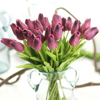 24 sztuk Tulipan Bukiet Sztuczny Kwiat PU Prawdziwy dotyk Kwiaty Dla Domu Sklep Ślub Dekoracyjnej kwiaty i wieńce 10 Kolor