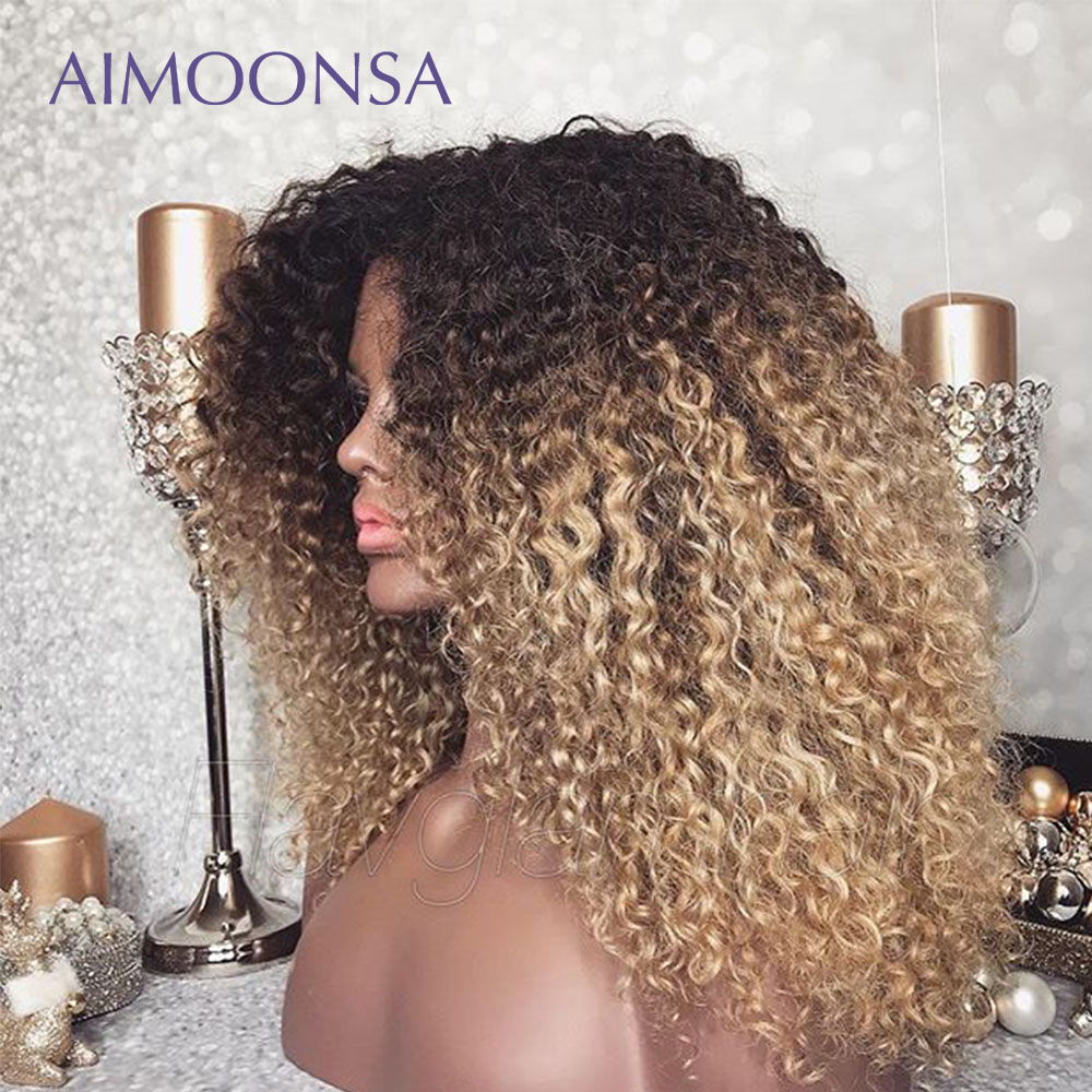Монгольский афро кудрявый парик 13x6 Омбре человеческие волосы 250 плотность цветные парики на кружеве натуральные волосы Remy Aimoonsa - 2