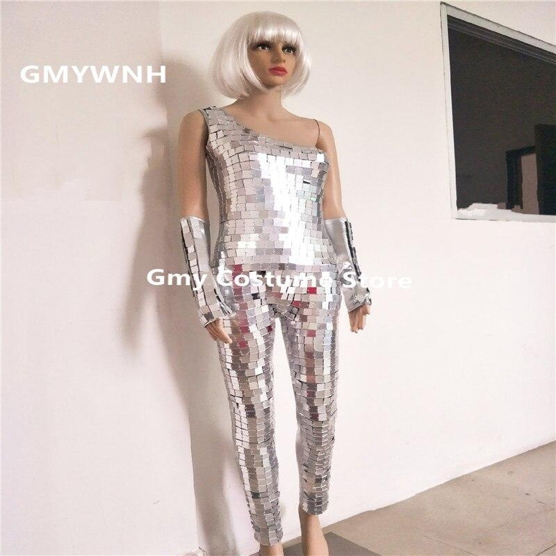 DC105 серебряное зеркало сценическое боди Женский комбинезон бальных танцев женские костюмы производительности Подиум платья наряды робот б
