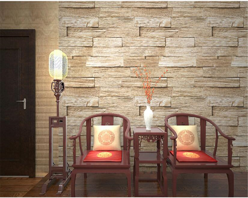Beibehang papel de parede rétro nostalgique en bois pvc panneau bois plancher 3d papier peint chinois Restaurant Bar fond mur - 3