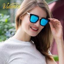 Viewnice Classic Mujeres Polarizadas Gafas de Sol de La Vendimia Oval Del capítulo del Metal Gafas De Sol Mujer lente Azul con caja de Espejo V0912