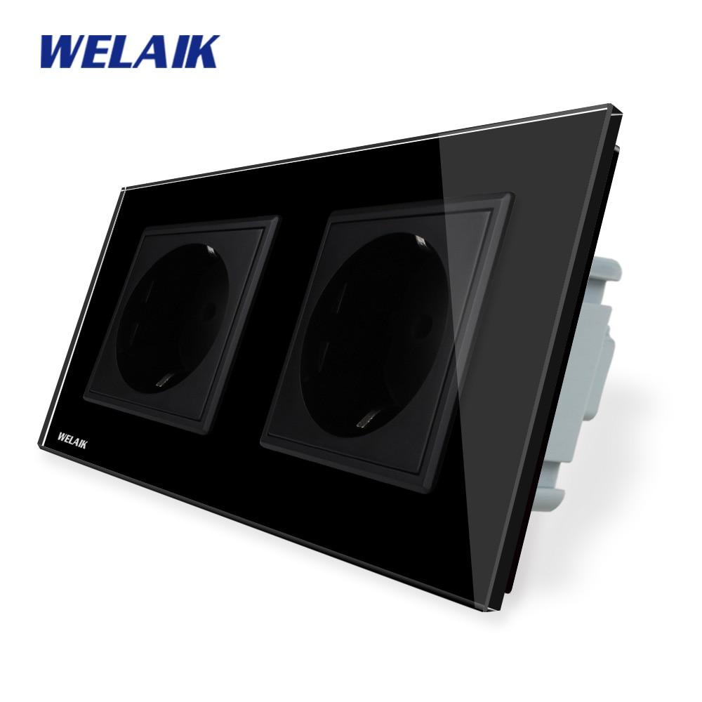WELAIK  Glass-Panel Wall-Socket-Wall Outlet-Black-European Standard-Power-Socket AC110~250V A28E8EB