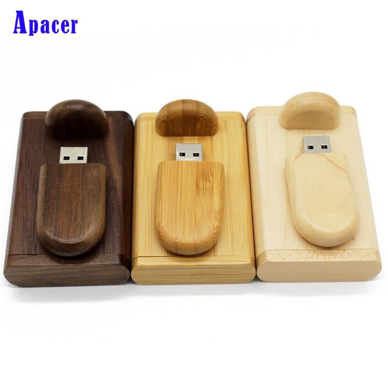 Apacer Custom Logo Pendrive Card Usb Flash Drive 4GB 8GB 16GB Wood Pen Drive Gift usb Stick