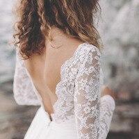 LORIE Lace Wedding Dress Long Sleeve Boho V Neck Open Back Beach bridal dresses 2018 Chiffon Skirt Princess Vintage Wedding Gown