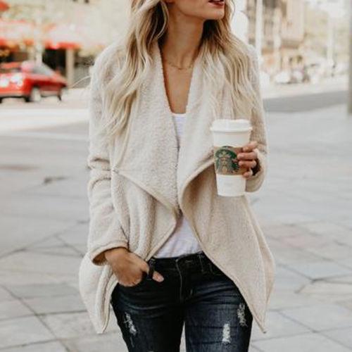 Hirigin Womens Winter Warm Cardigan Tops Long Sleeve Outwear Lady Fluffy Shaggy Faux Fur Coat Jacket