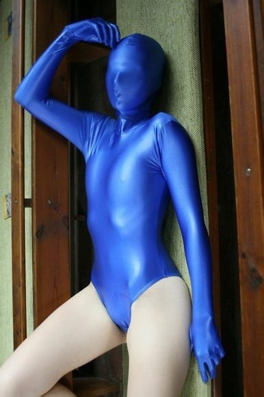 (AL102) <font><b>Sexy</b></font> Blue <font><b>Lycra</b></font> Spandex Unisex Party Leotard <font><b>Catsuit</b></font> Second skin Fetish Zentai Wear Second Skin image
