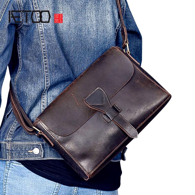 AETOO New original men s leather Messenger bag retro crazy leather leather cross section bag men