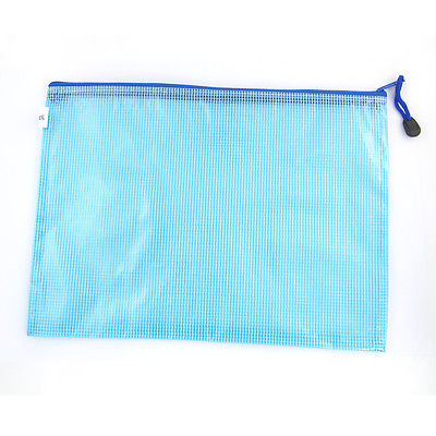 Office Grids Print Light Blue PVC Zip Up Stationery Pouch Bag