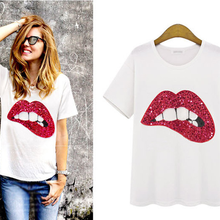 Hot Sale 2018 T-shirts For Women Summer Short Sleeve Sequin Red Green Lips  Tshirt 9bf94c5ca691