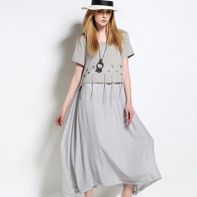 6584c04a513 New2017Summer style plus size women cotton linen long dress hole tassels  loose fit linen dress female
