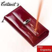 Contact's Hot Sale Genuine Leather Clutches Women Bag Coin Purse Handbag Passport Cover Long Wallets Fashion Card holder Wallet