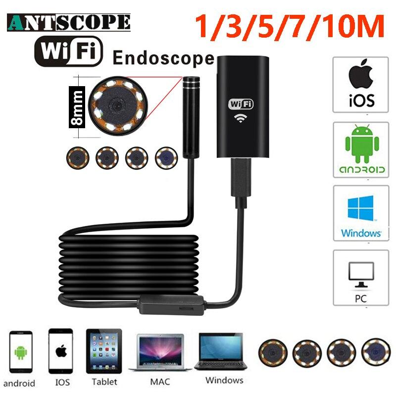 Antscope Wifi endoscopio Cámara Android 720 p Iphone Borescope impermeable Cámara endoscópica Semi rígido tubo duro iOS endoscopio 30