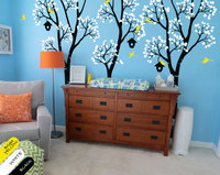 Huge Nursery Tree With Birdhouse Birch Tree Wall Sticker Kids Baby Bedroom Art Cute Decor Vinyl