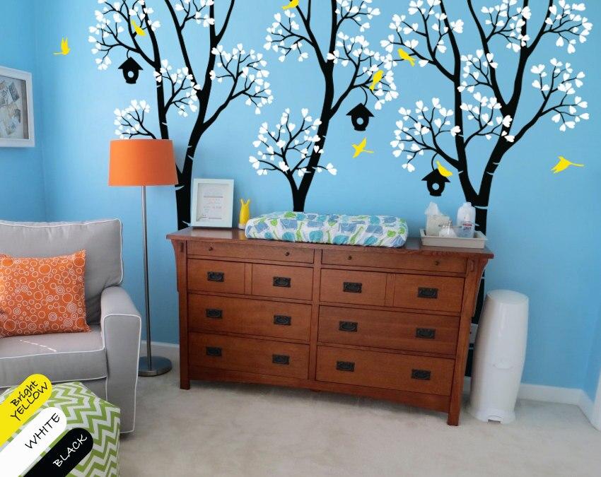 Énorme pépinière arbre avec nichoir bouleau arbre Sticker Mural enfants bébé chambre Art mignon décor vinyle amovible Mural Y-948