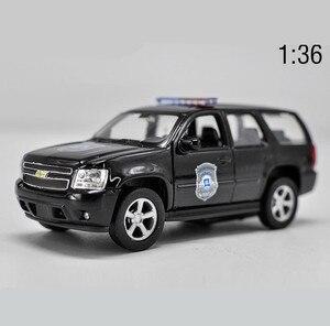 Image 1 - מכונית מודל סגסוגת 1:36 חיקוי גבוה, שברולט טאהו למשוך בחזרה מתכת רכב צעצוע, 2 דלת פתוחה מודל סטטי ברכב צעצוע, משלוח חינם