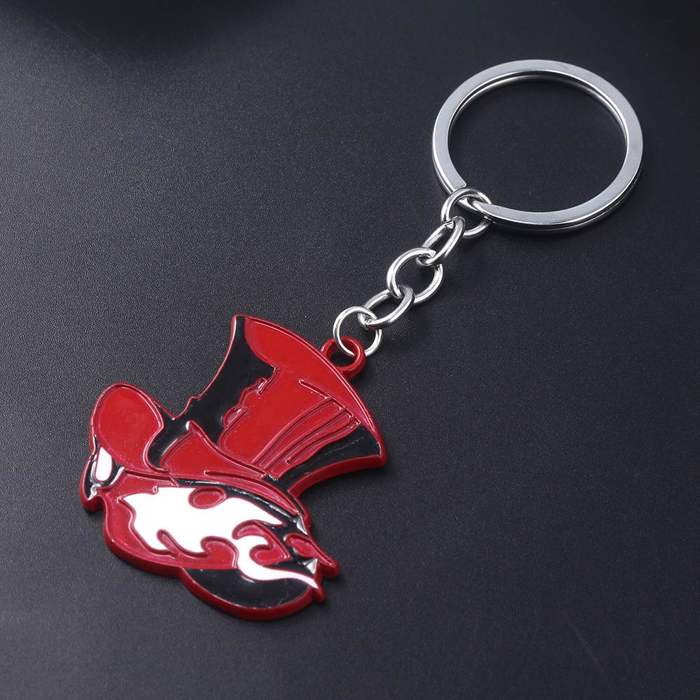Japanese Game Persona 5 P5 Keychain Take Your Heart Logo Red Hat Key Chain for Women Men Car Keyring Choker Souvenir Gift image