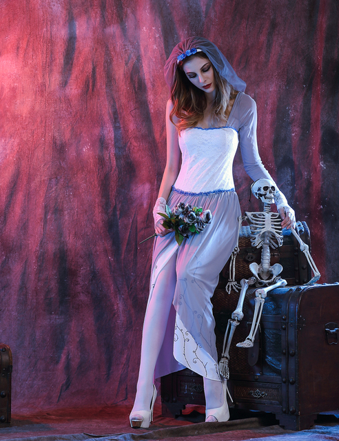 MOONIGHT Ghost Bride Dress Sexy Gothic Manor Zombie Wedding Corpse Costume Adult Costume Halloween 5