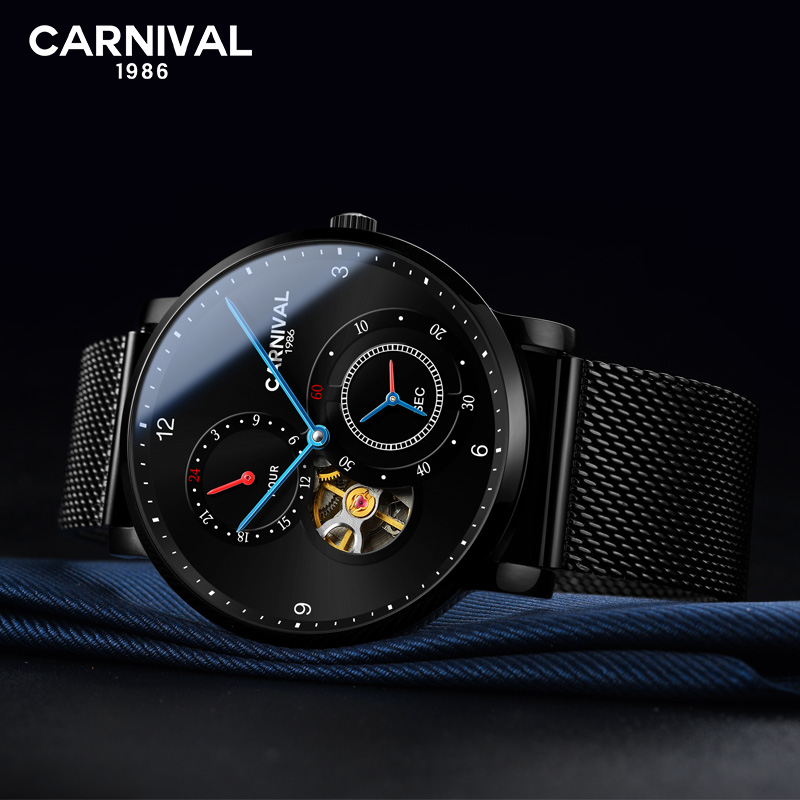CARNIVAL Authentic Fully Tourbillon Automatic Mechanical Watch Fashion Mens Watch Waterproof Fine Steel Simple 2019 Mens WatchCARNIVAL Authentic Fully Tourbillon Automatic Mechanical Watch Fashion Mens Watch Waterproof Fine Steel Simple 2019 Mens Watch