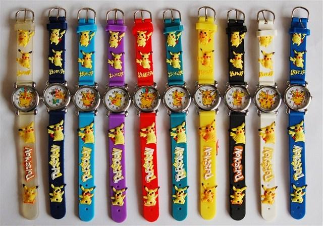 Good Gift! Cartoon Pattern Boys Girls Students Kids Pikachu Silicone New Analog Quartz Wrist Watches