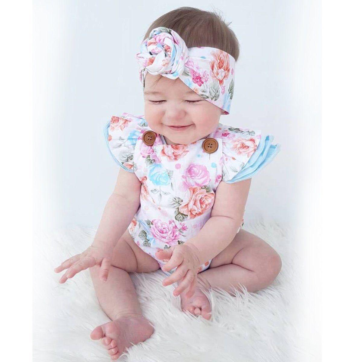 2 STKS Pasgeboren Baby Kids Baby Meisje Romper Jumpsuit + Hoofdband - Babykleding