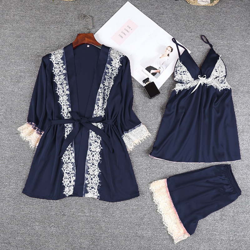 Sexy Lace Trim Satin Patchwork Cami and Shorts and Robe   Pajama     Set   New Women sleepwear women lingerie seksi bayan gecelikler