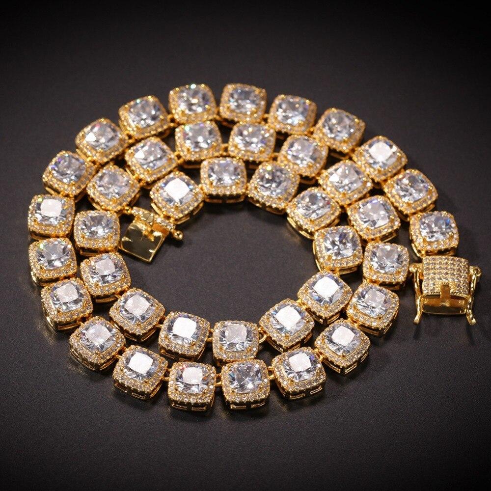 10mm de large Hip Hop Bling glacé sur 1 rangée géométrique carré AAA CZ pierre chaîne de Tennis cubique zircone colliers hommes bijoux