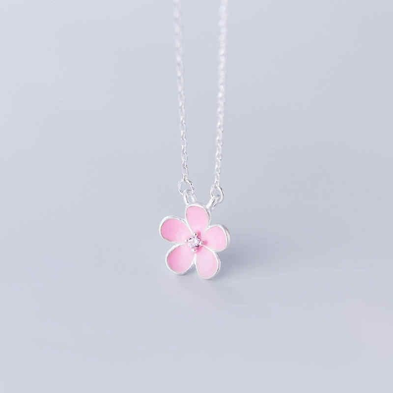 Inzatt Nyata 925 Sterling Silver Minimalis Bunga Liontin Kalung untuk Wanita Perhiasan Aksesoris Lucu Hadiah 2019