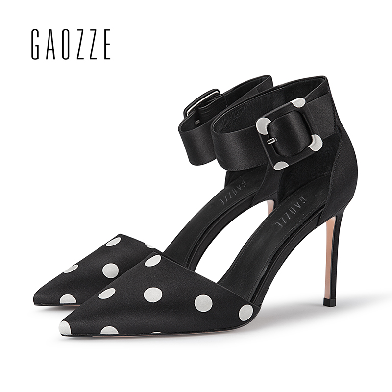 GAOZZE Fashion Dot Silk Cloth High Heels Party Womens Shoes 2018 Spring New Cover Heel Buckle Strap Sandals Female Pointed Toe womens fashion high heel strappy crossover barely there buckle party stiletto sandals shoes xd195