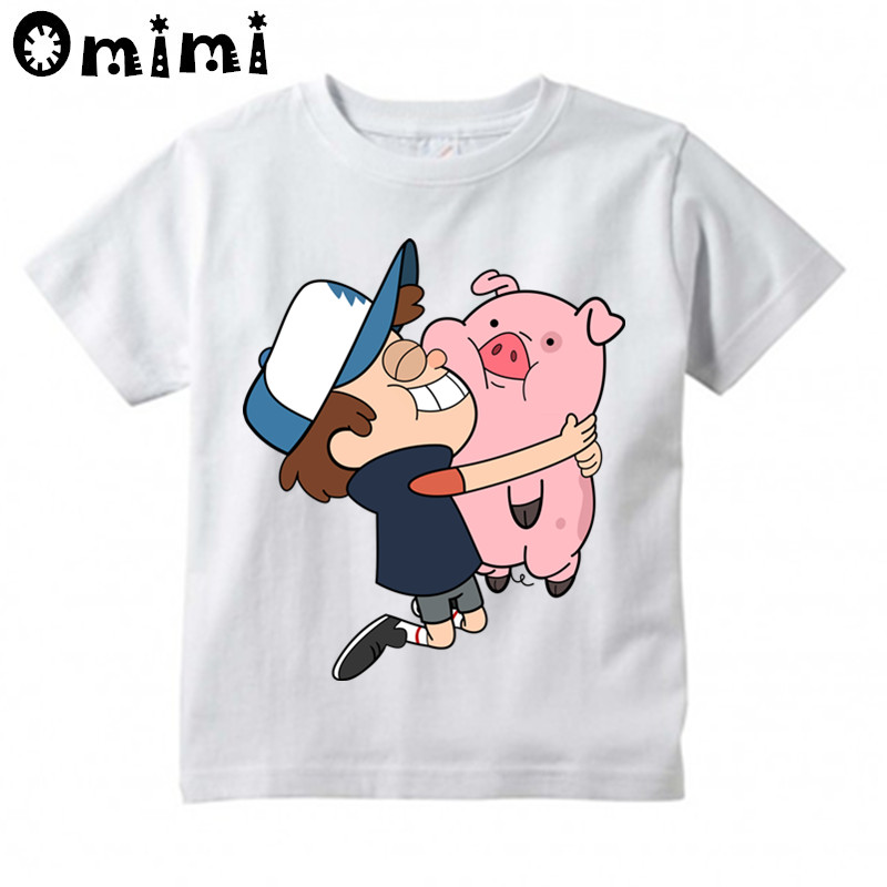 Gravity Falls Cartoon Mabel Dipper Pine Design Print T-shirts Children,Boy/Girl Summer Short Sleeve White T shirts Kid Clothing grid hollow design t shirts in army green