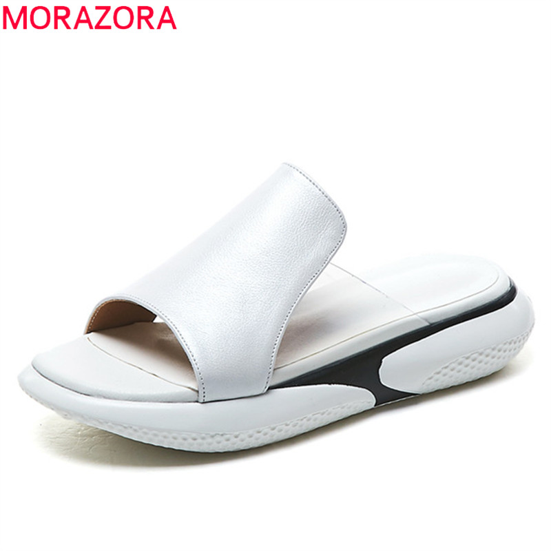 MORAZORA newest genuine leather slipper women shoes comfortable flat shoes summer sneakers style casual slipper woman