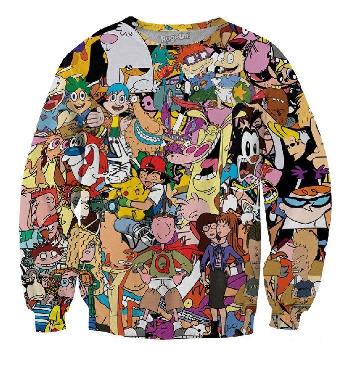 2018 post 90 s cartoon print 3d Sweatshirt männer/frauen cartoon hoodies kleidung moleton masculino GRÖßE S-XXL Freies verschiffen
