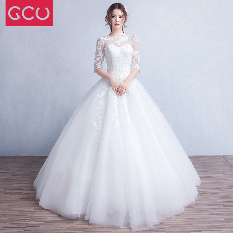 Newest Vintage Cheap Ball Gown Lace Half Sleeve Wedding Dresses Scoop Appliques Bridal Wedding Gowns China Dress Hochzeitskleid