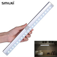 Smuxi Portable 20 LED USB Rechargeable Light Sensor & PIR Mtion Cabinet Closet Light Night Lamp for Kitchen Stairs Wardrobe