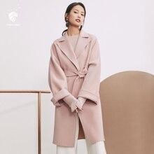 2ef237d6fdb Fansilanen Новое поступление 2017 года мода осень зима Повседневное длинные  шерстяные кашемировые одноцветное пальто шерстяное