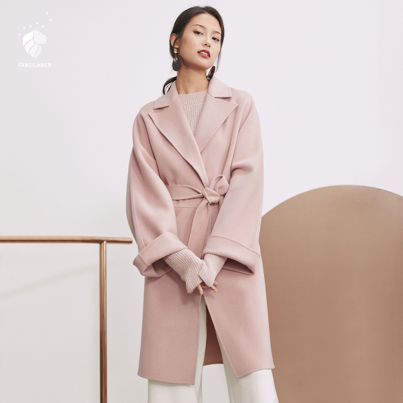 FANSILANEN 2017 New Arrival Fashion Autumn/Winter Casual Long Wool Cashmere Solid Coat Woolen Women Female Overcoat Z73092