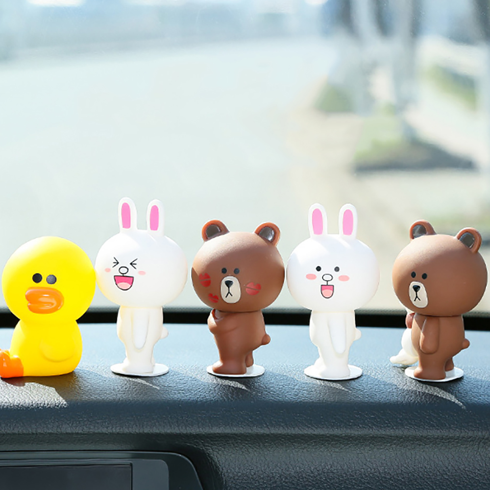 Car Ornament Decoration Cute Bear Rabbit Doll Cartoon Automobiles Interior Dashboard Decor Lovely Home Furnishing Accessories lovely bear couple doll decoration brown