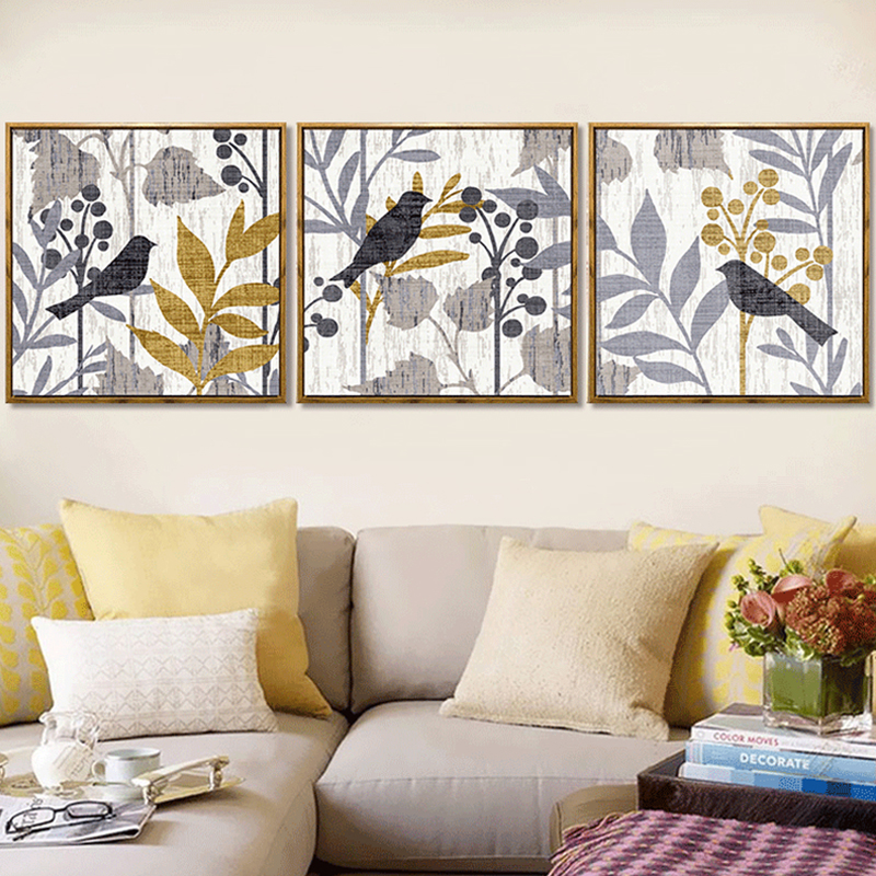 Haochu Home Wall Triptych Pictures Rural Landscape Bird