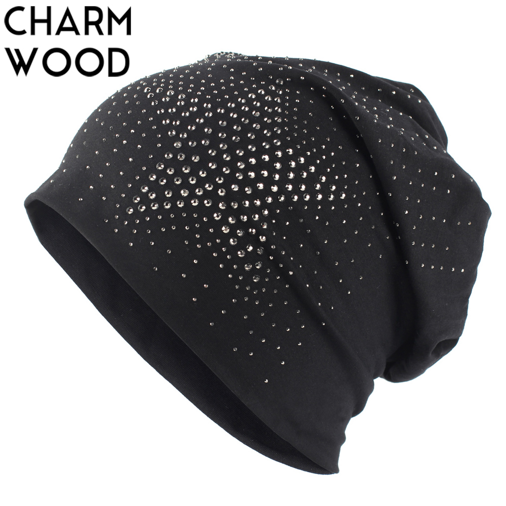 Women's   Skullies     Beanies   New 2018 Autumn Cotton Slouchy   Beanie   Hat for Women Ladies Star Rhinestone Balaclava Hats Drop Shipping