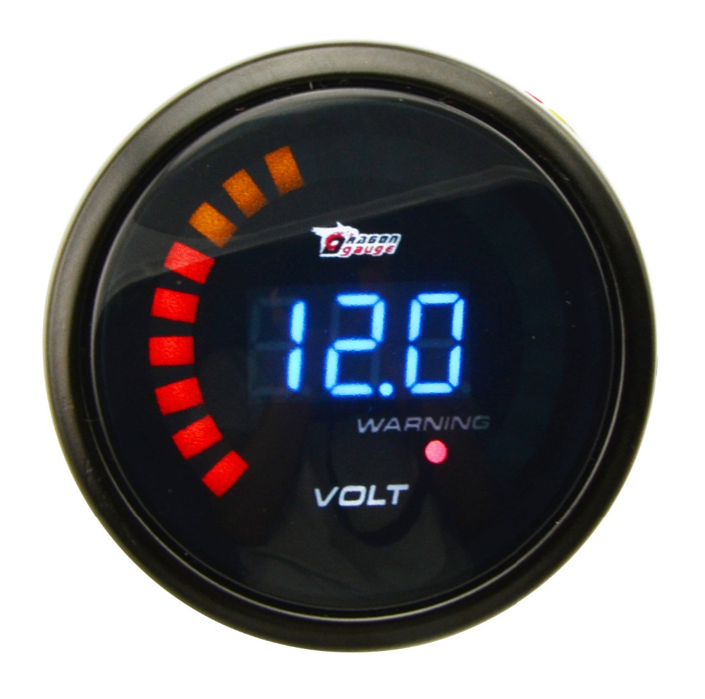 "Auto Parts Coupons >> Free Shipping 2"" 52mm Digital Voltmeter Gauge Black Shell 20 LED Volt Auto Gauge Meter Car Clock ..."