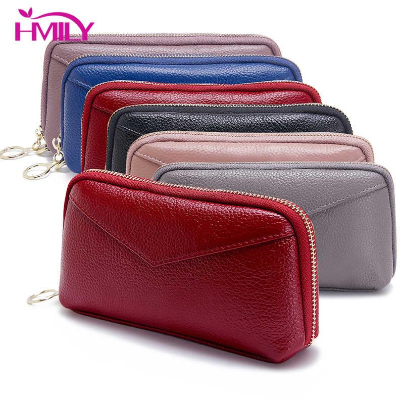 HMILY Kadın Telefon el çantası Hakiki Deri Kadın El Çantaları Uzun Bilek Para Çanta Bayanlar Için Gerçek Cowskin Kredi Kartı Paketi