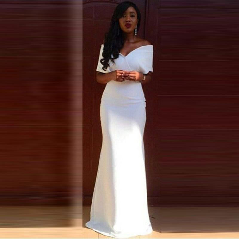 White Evening Dress Mermaid Satin V Neck Cap Sleeve Robe De Soiree