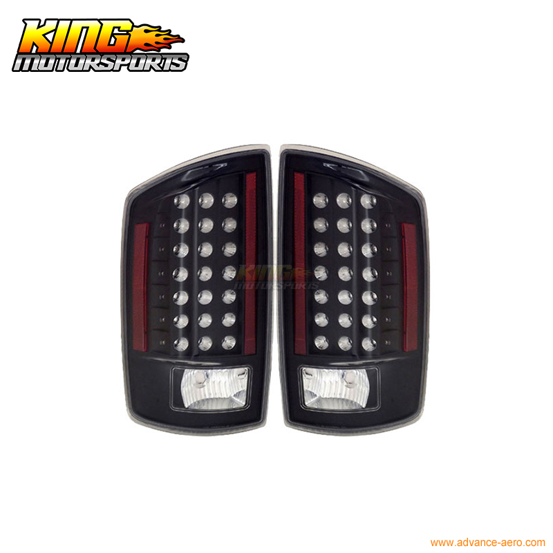For 2007-2008 Dodge Ram LED Tail Lights Black Lamps Pairs USA Domestic Free Shipping